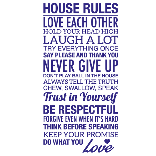 Wallsticker tekst House rules 2