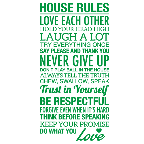 Wallsticker tekst House rules 3