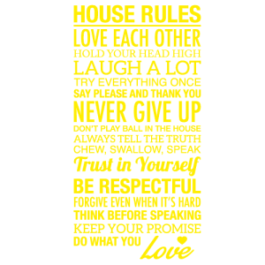 Wallsticker tekst House rules 13