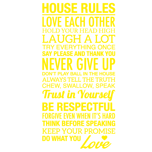 Wallsticker tekst House rules 4