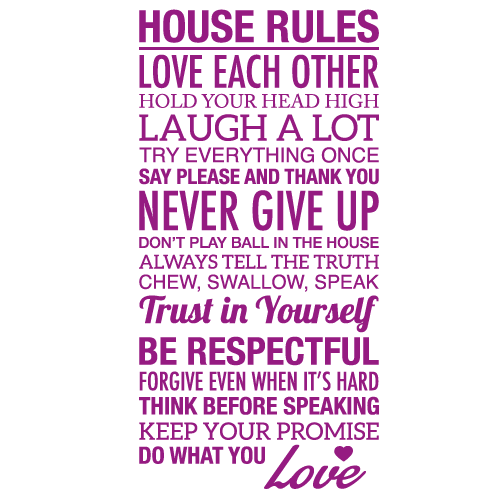 Wallsticker tekst House rules 5