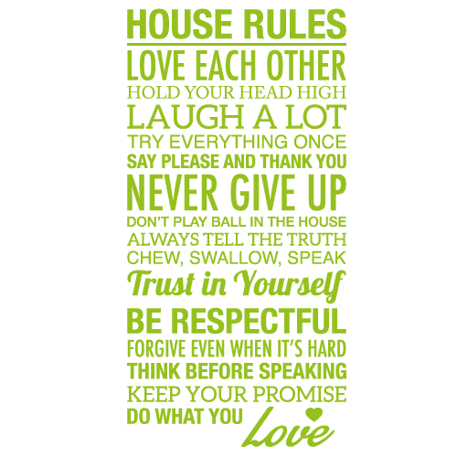 Wallsticker tekst House rules 6