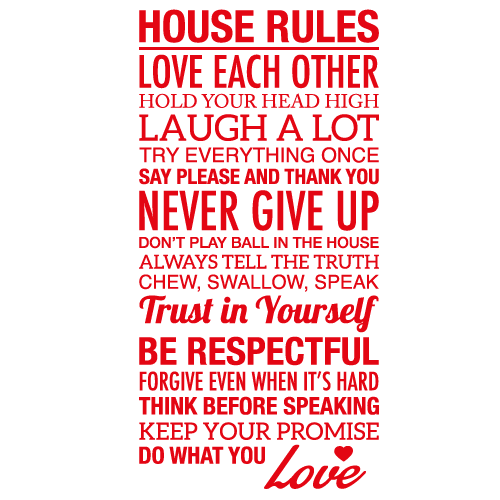 Wallsticker tekst House rules 9
