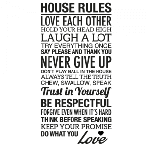 Wallsticker tekst House rules 19