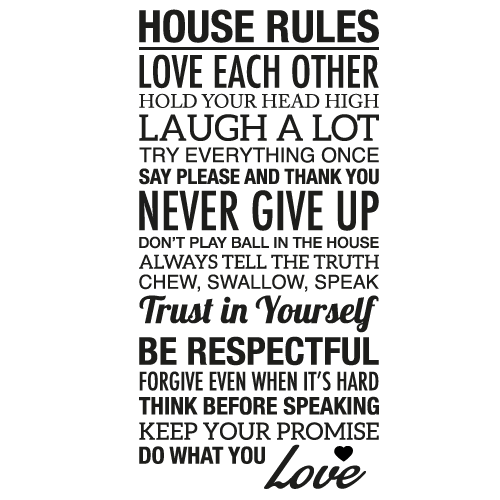 Wallsticker tekst House rules 1