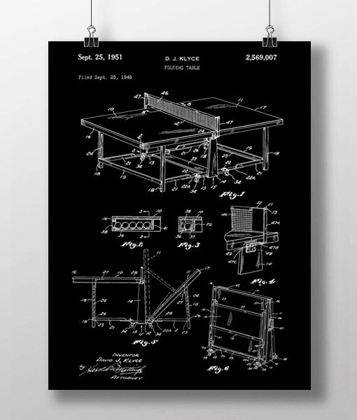Bordtennis Bord Patent | Plakat 1