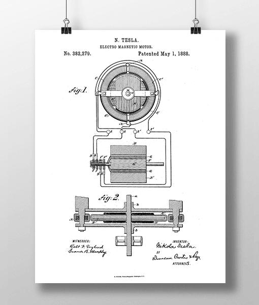 Tesla Motor 1 Patent | Plakat 1