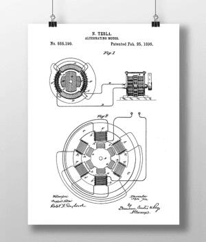 Tesla Motor Patent | Plakat 3