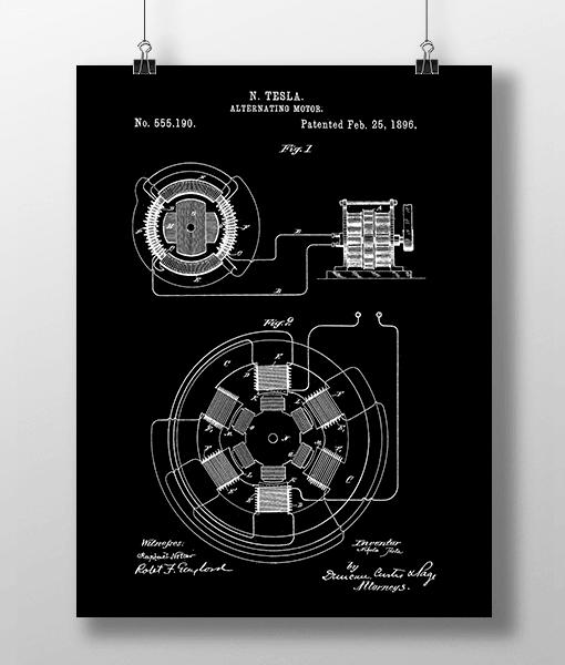 Tesla Motor Patent | Plakat 1