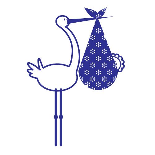 Wallsticker Storke med baby 2