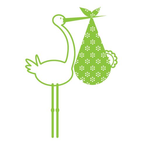 Wallsticker Storke med baby 6