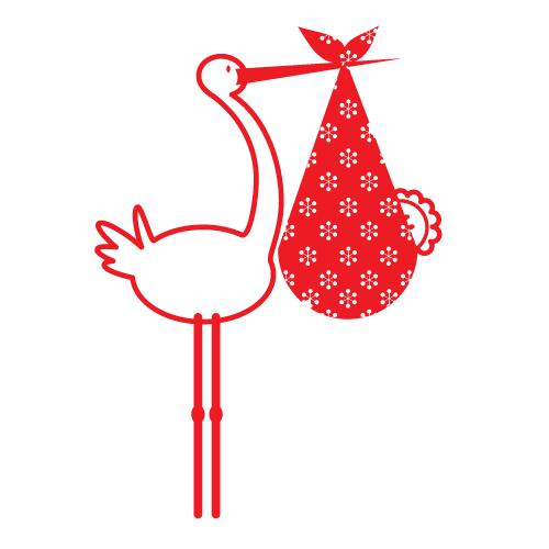 Wallsticker Storke med baby 8