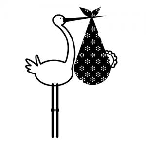 Wallsticker Storke med baby 17