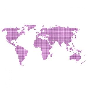Wallstickers verdenskort prikker 15