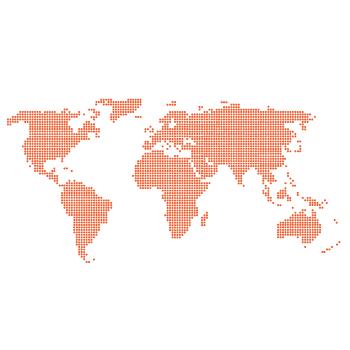 Wallstickers verdenskort prikker 5