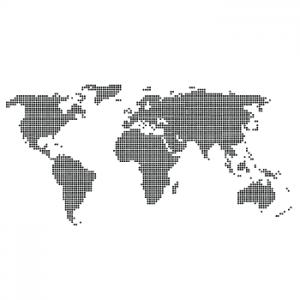 Wallstickers verdenskort prikker 11
